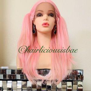 Pink wig ombré 20 inch long 4 part lace front long